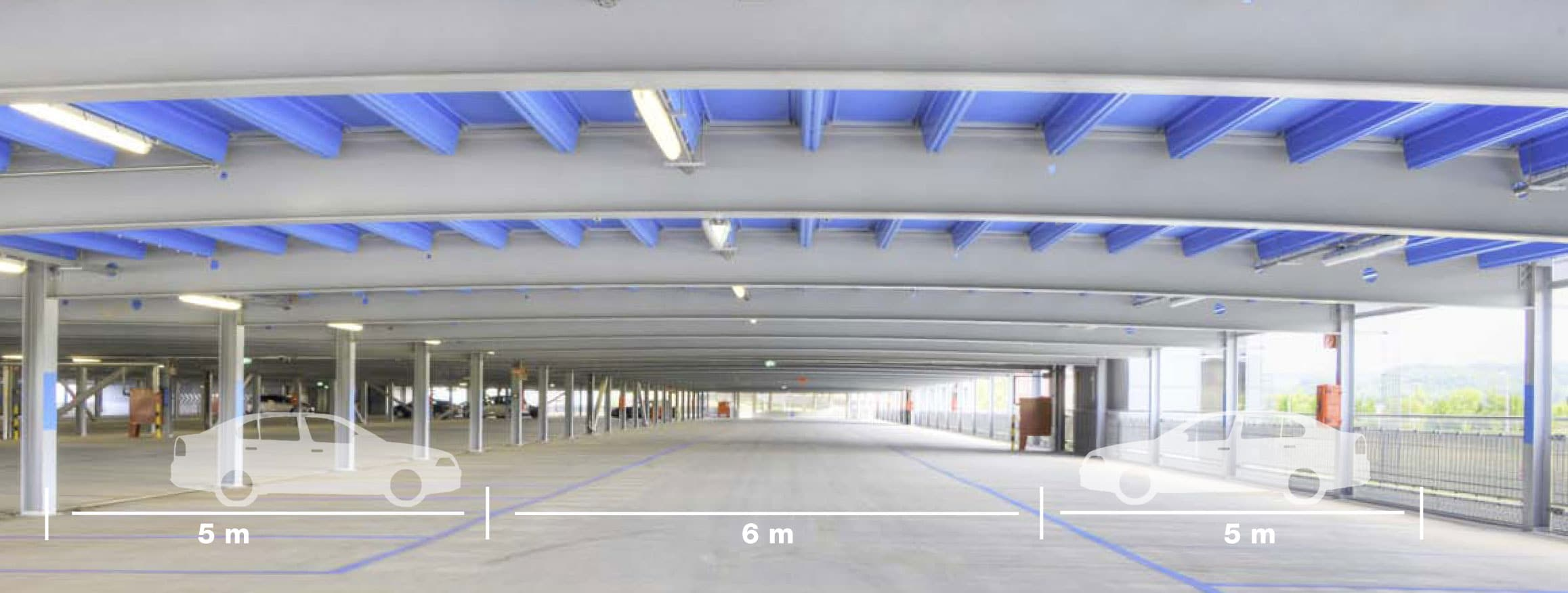 Evo-Park - La technologie ASTRON avec des longues portées de 16 mètres permet de répondre à des contraintes techniques complexes.